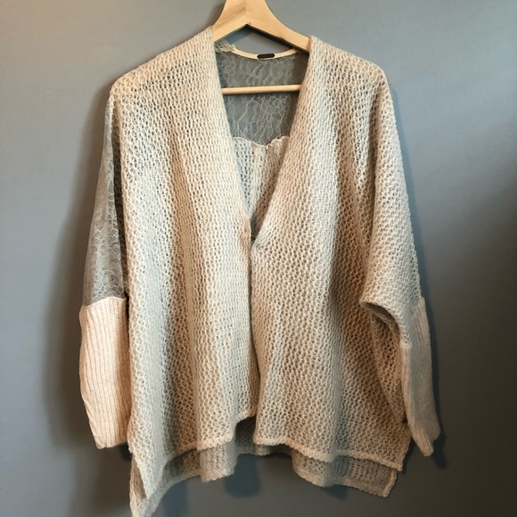 Free People oversized lace and knit cardigan